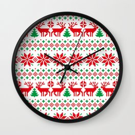 Christmas deers snowflake pixel pattern Wall Clock