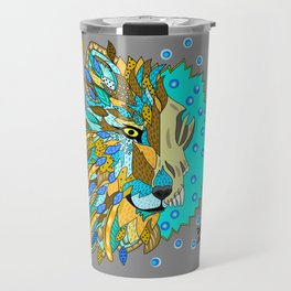 Wolf with Feathers Spirit Animal Pop Art Print Natural Travel Mug