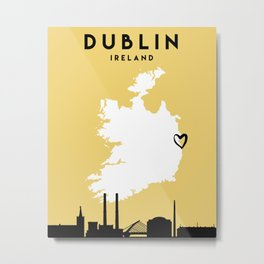 DUBLIN IRELAND LOVE CITY SILHOUETTE SKYLINE ART Metal Print