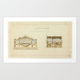 Plan-Customs House, Hobart. Architect, J.G.McNeilly, Colonial Architect's Office. Art Print