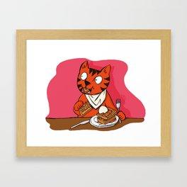 He's Eating Breakfast! Waffles Are Grrreat Anytime. Framed Art Print