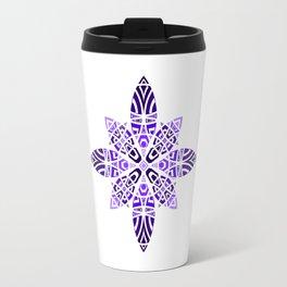 #11 Purple Violet Blue Geometric Floral Leaves Ornament Travel Mug