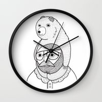 hats Wall Clocks featuring On how baby bears are often used as winter hats by Michael C. Hsiung