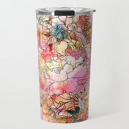 Summer Flowers | Colorful Watercolor Floral Pattern Abstract Sketch Travel Mug
