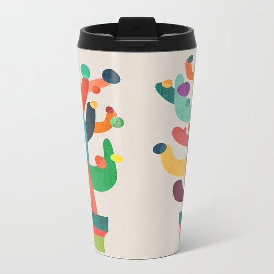 Whimsical Cactus Metal Travel Mug