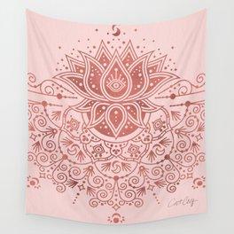 Sacred Lotus Mandala – Rose Gold & Blush Palette Wall Tapestry