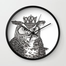 Great Horned Owl Wearing a Glittering Crown Wall Clock