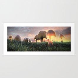 The Mushrooms are Here Art Print