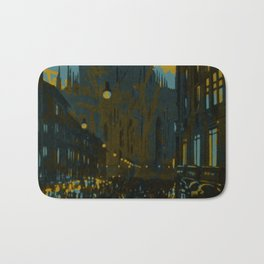 Vintage Made Modern: Italian Cityscape with Abstract Texture Bath Mat