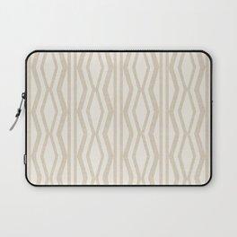 Pastel White Cream Linen Geometric Pattern Laptop Sleeve