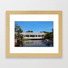 Charming White Wooden Bridge Framed Art Print