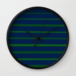 Slate Blue and Emerald Green Stripes Wall Clock