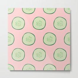 Bright Refreshing Summer Pink Cucumber Pattern Metal Print