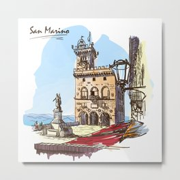 Sketches from Italy - San Marino Metal Print