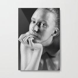 Portrait of a beautiful silver girl Metal Print