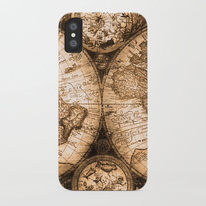World Map Antique Vintage Maps IPhone Case By Naturemagick Society - Star map iphone