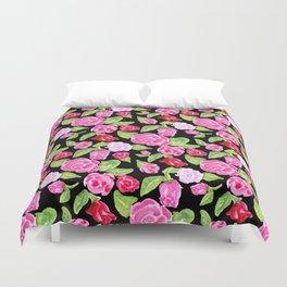 Watercolor Rose Garden black Duvet Cover