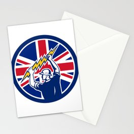 British Electrician Union Jack Flag icon Stationery Cards