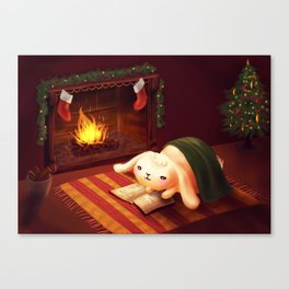 Chubby bunny by the fireplace Canvas Print