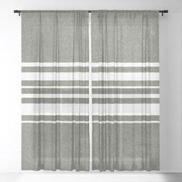 irregular stripes - white on olive green Sheer Curtain