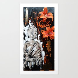 Orange Buddha Art Print