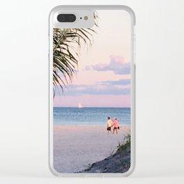 Lovers walk beach Clear iPhone Case