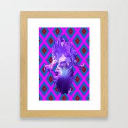 Optical Art Purple Iris Fuchsia-Blue Diamond Pattern Framed Art Print