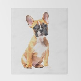 French Bulldog Puppy Watercolor Throw Blanket