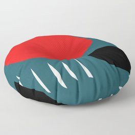Minimal Red Black Abstract Art Floor Pillow