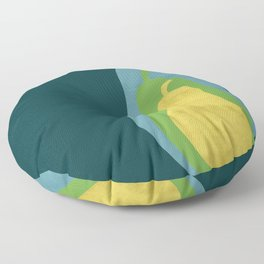 Concentric Pears - Nesting in Blue, Green, and Yellow Floor Pillow