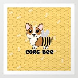 CorgBEE Cute Corgi Bee design for dog lovers - summer, spring, yellow, animal lover Art Print