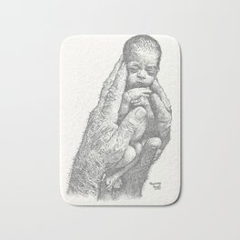Newborn in hands Bath Mat
