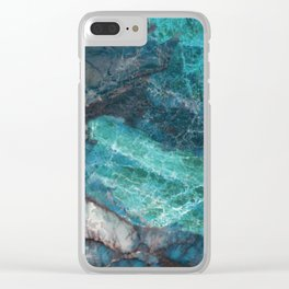 Cerulean Blue Marble Clear iPhone Case