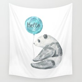 Panda Greeting Wall Tapestry