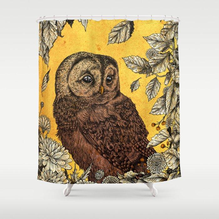 Tawny Owl Yellow Shower Curtain
