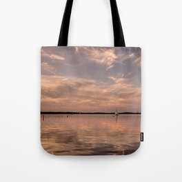 Evening at a lake - Pink Sundown with Clouds on the Water Tote Bag