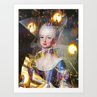 marie antoinette Art Prints featuring Marie Antoinette by Ampersand Artworks (Ornery Owl Arts)
