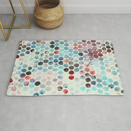 Colorful distressed polka dot pattern in watercolor Rug
