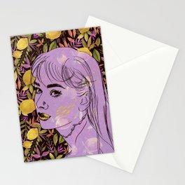 "Woman face and lemon pattern with watercolor and digital drawing, illustration ""lemonade""  Stationery Cards"