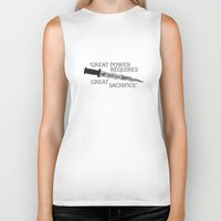 ouat Biker Tanks featuring OUAT Quote | Great power requires great sacrifice by CLM Design
