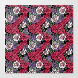 Chevron Floral Black Canvas Print