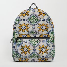 Mediterranean Vintage Blue and Orange Tiles Backpack