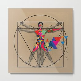 Vitruvian Man and a Burst of Color Metal Print