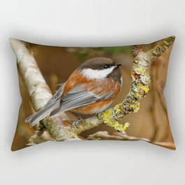 Chestnut-Backed Chickadee in the Cherry Tree Rectangular Pillow