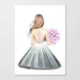 Paris print Fashion illustration Wedding dress art Paris theme Girls dorm art Eiffel wall art Romant Canvas Print