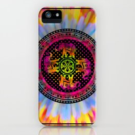 Psychedelic Elephant Mandala Pink Yellow Blue iPhone Case