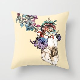 Blooming Skull Throw Pillow