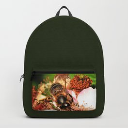 Honey Bee on a Blackberry flower Backpack