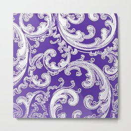 Purple Retro Chic Swirl Metal Print