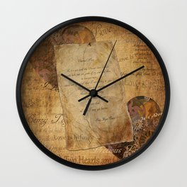 Two Hearts are One - Vintage Romantic Steampunk Art Wall Clock